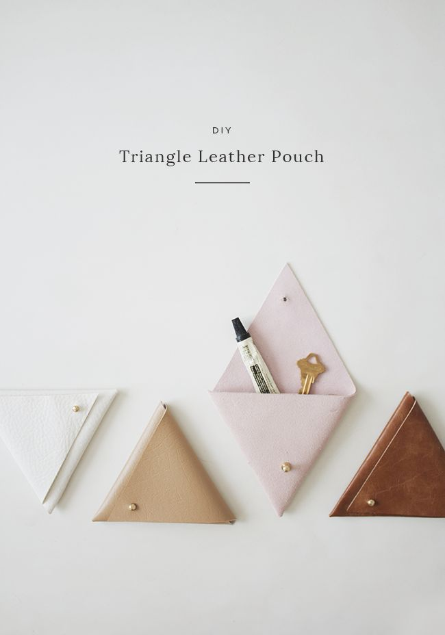DIY triangle leather pouch