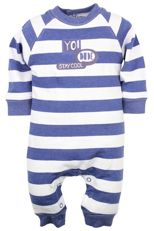 Jongens boxpakje Yo Dude van het kinderkleding merk Dirkje babywear.  Dit is een zeer leuk blauw - wit gestreept kruippakje met een lange mouw en beentjes. Met een drukknoop sluiting op de rug en tussen de beentjes, met de tekst : Yo dude stay cool