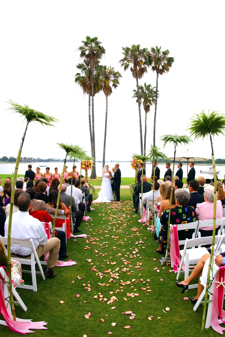 beach wedding places in california%0A Need a little height to your ceremony aisle  Bamboo and palm fronds added  to this