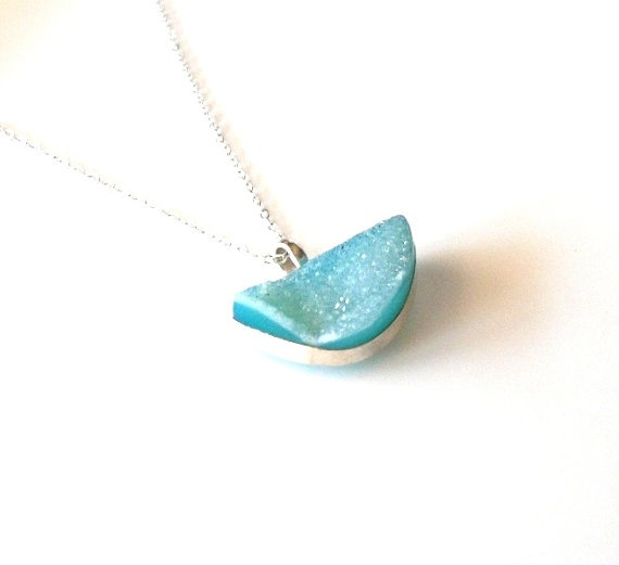 Aqua Chalcedony Druzy  and Sterling Necklace  by InspiredByKarma, $48.00: Inspiredbykarma, Druzy Sterling, Aqua Chalcedony, 37 99, Sterling Necklaces, Chalcedony Druzy, Necklaces Gifts