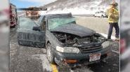 SALT LAKE CITY — A car attempted to pass a snow plow early Sunday morning, and the winter road conditions contributed to an accident between the two vehicles.   John Gleason, Utah Department of Transportation spokesperson, said the car was moving southbound along I-15 behind the plow. The driver attempted to pass the plow in the left lane, but the driver spun out and collided with the other vehicle.   The driver is OK