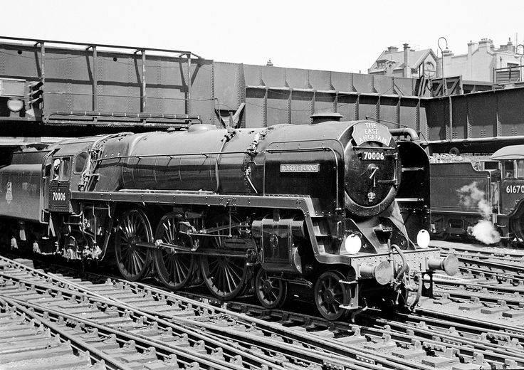 70006 Liverpool Street 1951 JDC580 Britannia Pacific 70006 'Robert Burns' at Liverpool Street with the down 'East Anglian' , 1951.
