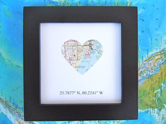 Framed Map With Map Coordinates Customized 5x5 Frame
