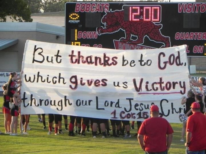 Bible Verses About Sports Teams   ... Cheerleaders Can Display Banners with Bible Verses at Football Games