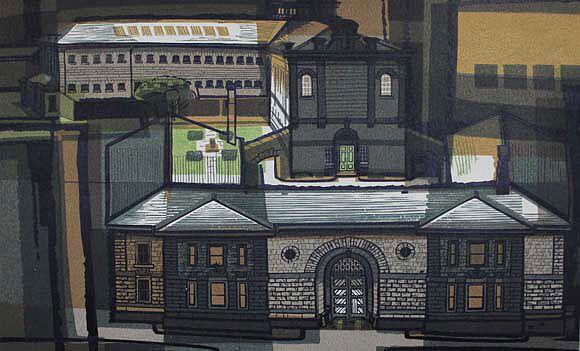 Kenneth Jack The Old Gaol, Old Melbourne Building No. 5 1963 Linocut