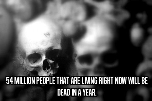 54 million people that are living right now will be dead in a year...