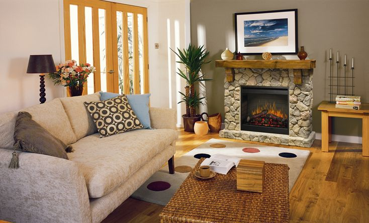 The Dimplex Fieldstone Electric Fire with Mantel offers a rustic yet charming look. It will bring back the olden days to your home, but none of the mess of a woodfire to worry about.