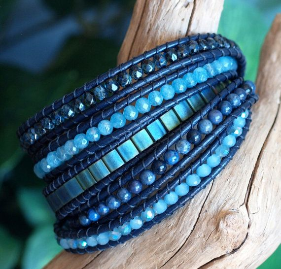 NEW IN THE SHOP! This beaded leather five wrap bracelet features a gorgeous assortment of top quality beads, including 5x5mm Miyuki Tila Beads,