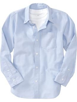 Boys Uniform Oxford Shirts - Great for school uniforms or dressy occasions, this classic Oxford shirt belongs in every boys wardrobe. Features a button-down collar, chest pocket and shirttail hem.