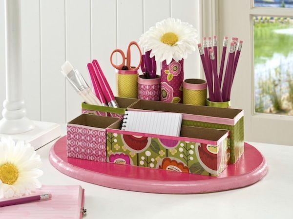 Make a desk organizer using recycled cereal boxes and toilet paper rolls!