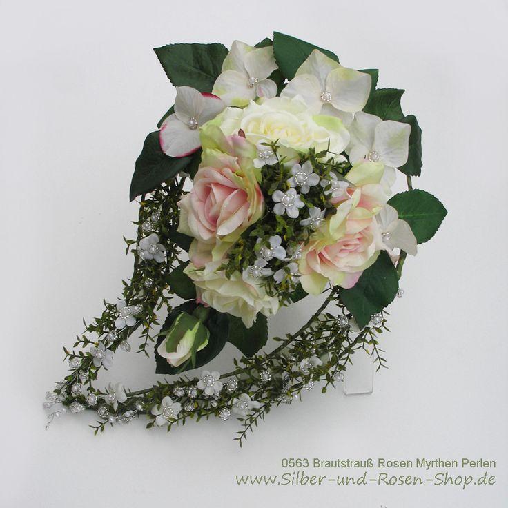 Brautstrauß Rosen Myrthen Perlen