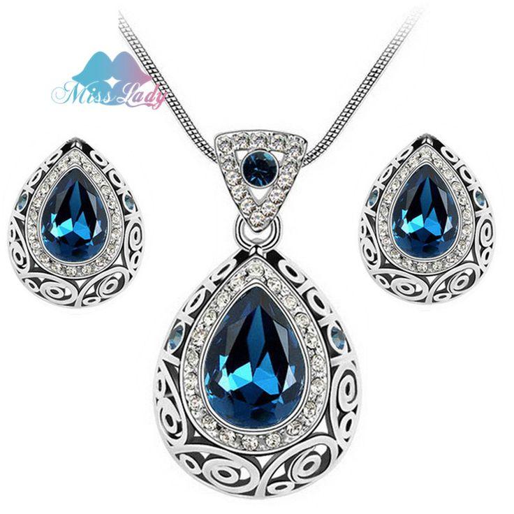 Nona Wanita Emas Disepuh Berlian Imitasi Kristal Water Drop Crystal Jewelry Set Afrika Beads Antik Perhiasan untuk 2017 wanita ML85509