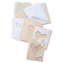 Passepartoutkarten 'Herz', creme-weiß, A6 / C6, je 10 Stück