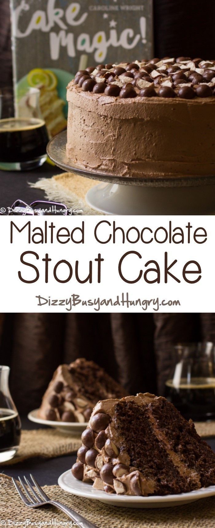 Malted Chocolate Stout Cake #WeekdaySupper #CakeMagic http://www.dizzybusyandhungry.com/malted-chocolate-stout-cake/