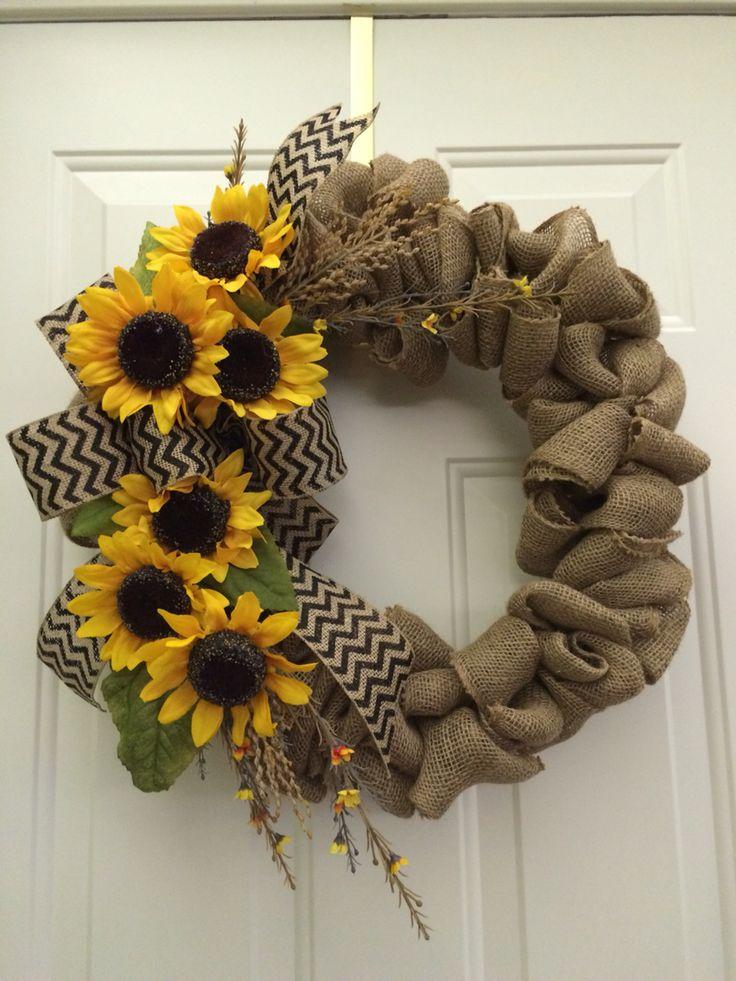 Sunflower wreath carols wreaths pinterest for Craft wreaths for sale