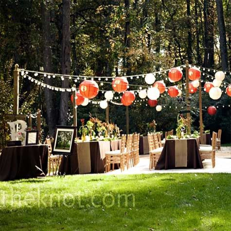 Outer posts- perfect alternative for hanging lights/lanterns if getting a tent is too expensive or if your having the reception during the day this is better so guests can enjoy the sun.
