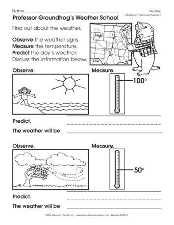 Professor Groundhog's Weather School, Lesson Plans - The Mailbox