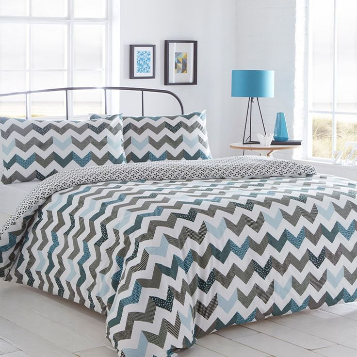 Pieridae Chevron Blue Duvet Cover & Pillowcase Set Bedding Quilt Case Single Double King Daybed Bedroom (Double): Amazon.co.uk: Kitchen & Home