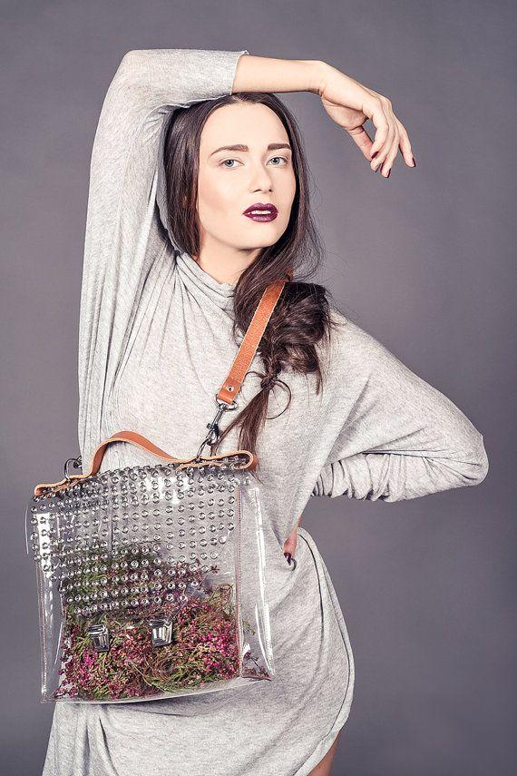 Clear Messenger bag transparent bag grommet bag by YPSILONBAGS