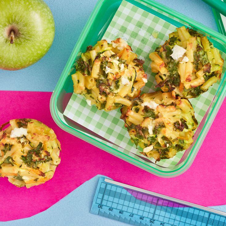 Feta & Kale Puffins (Pasta Muffins)