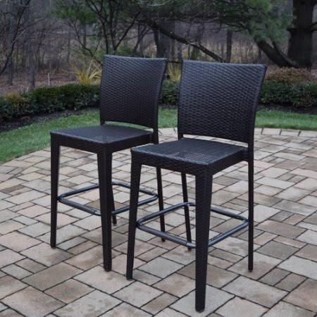 "Combine these stools with the matching Oakland Living Home Bar and you have the perfect outdoor setting to entertain.  Robust and sleek outdoor bar stool in traditional wicker Resin wicker over a robust, lightweight steel frame Wicker is hand-woven in a traditional lattice-weave style Resin wicker is designed to resist rot, fading and weathering Dimensions: W:21.5"" D:20.5"" H:44.75"""