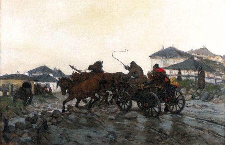 """Józef Chełmoński """"Błotnista droga"""", 1882 Paryż, olej na płótnie, 60 x 92,5 cm, własność prywatna"""