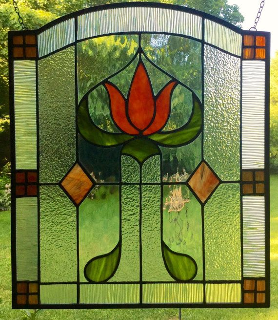Craftsman missions stained glass window panel arts and for Arts and crafts glass