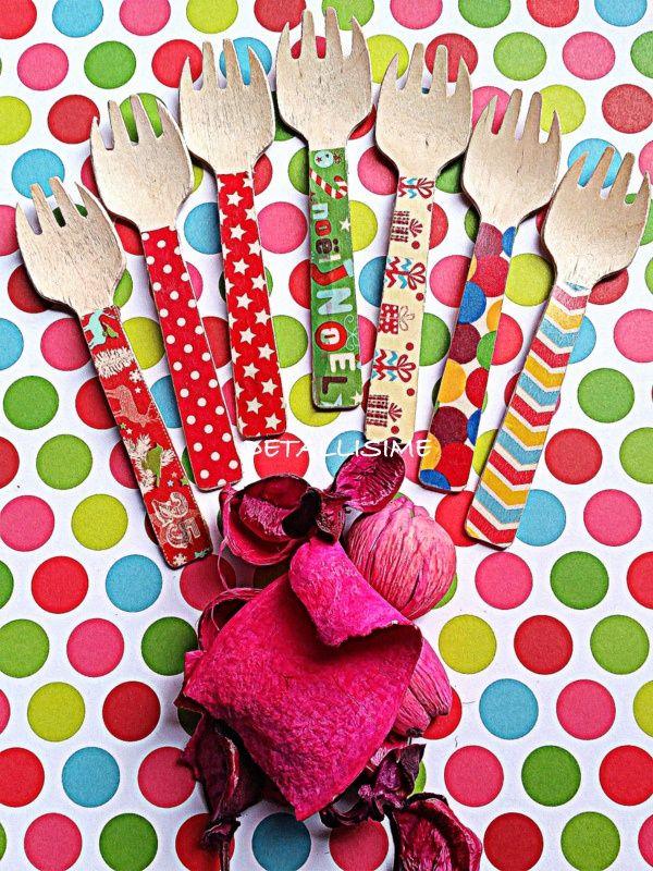 Tenedores de madera decorados (especial Navidad) (10 cms) pedidos y catálogo: detallisime@yahoo.es