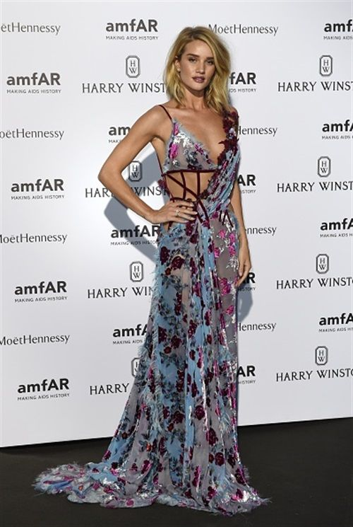 Rosie Huntington-Whiteley in Atelier Versace Fall 2015 - amfAR Dinner in Paris - July 5, 2015