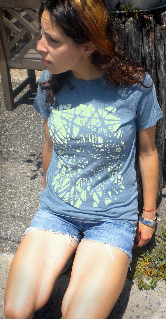 Brooklyn Subway Track Organic T Shirt Unisex Blue S by livepoultry, $27.00