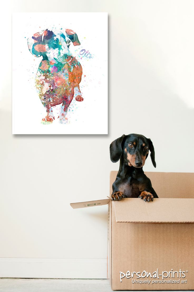 Dachshund Watercolor Print With Images Personalized Dog Art Dog Art Watercolor Print