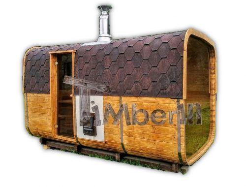 Quadratische Aussensauna Mit Holzofen Und Vorraum TimberIN
