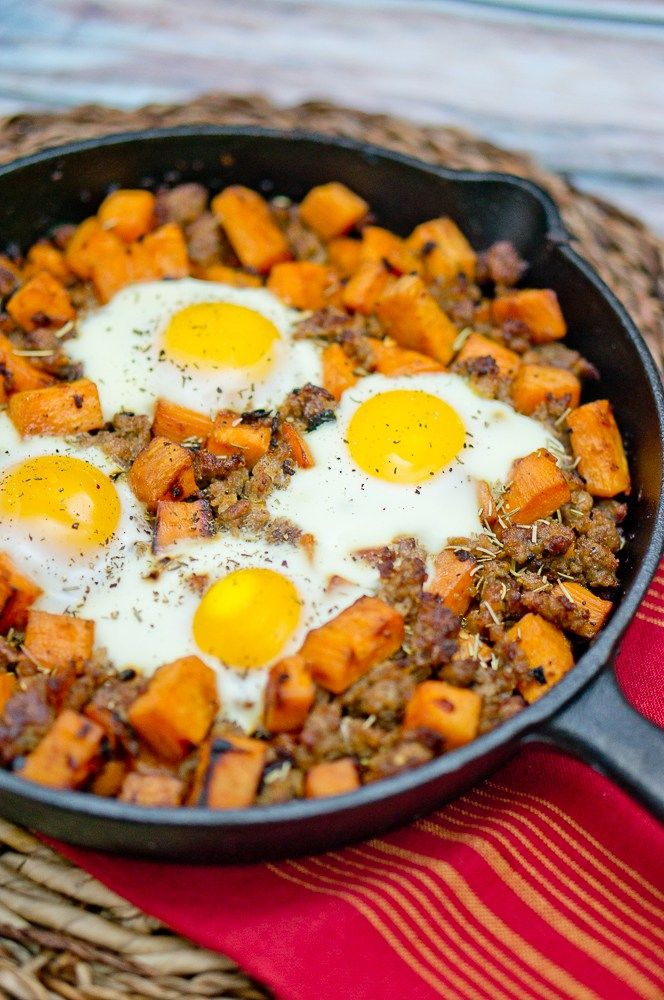 Sweet Potato Hash and Sausage. This sounds like an easy dish to prepare. I would toss in a handful of chopped kale or spinach.