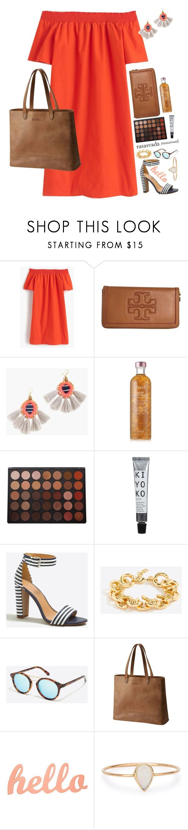 """""""<>"""" by livperu ❤ liked on Polyvore featuring J.Crew, Tory Burch, Fresh, Morphe, SOREL and Catbird"""