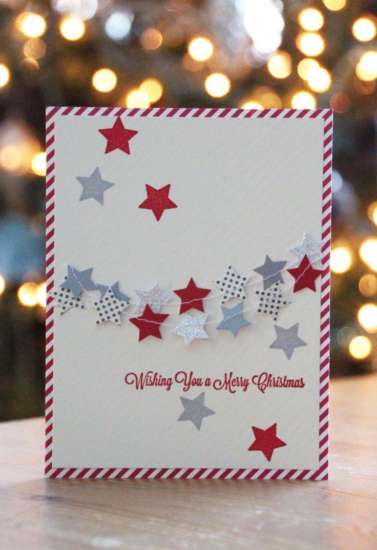 geponste sterretjes voor kerstkaarten