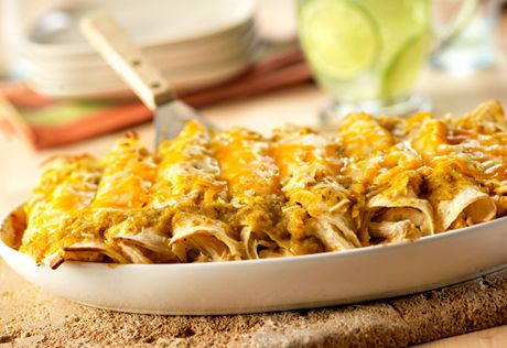 Thesalsa verdein this recipecombines the smoky flavor of Spanish paprika with the bright flavors of tomatillo and lime to make these cheesy enchiladas stand out from the rest!