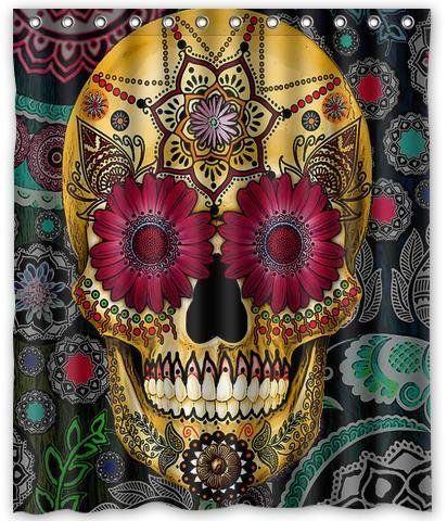 Fashion Popular Flowers Sugar Skull Shower Customize Unique Waterproof Shower Curtain - My Sugar Skulls
