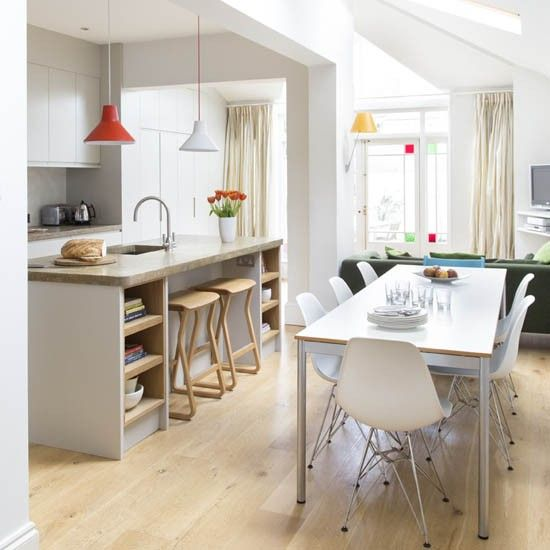 Family kitchen-diner with island unit | Contemporary grey kitchen-diner | Makeover | housetohome.co.uk