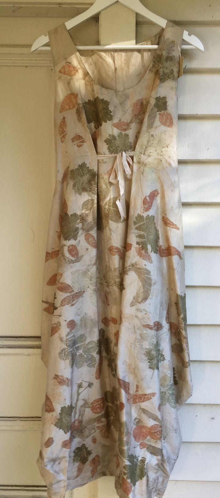Dupion silk with rose, eucalyptus and geranium leaf prints