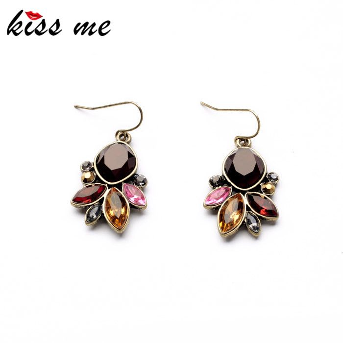 Statement Jewelry  Graceful Resin Stone Antique Gold Plated Drop Earrings Accessories for Women
