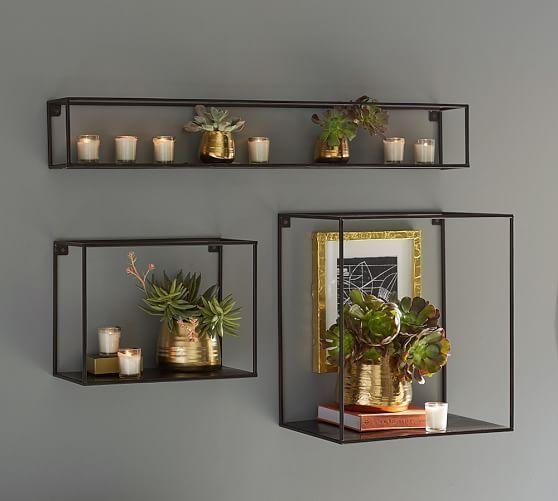 Cube Display Large Rectangle Shelf, Brass Finish