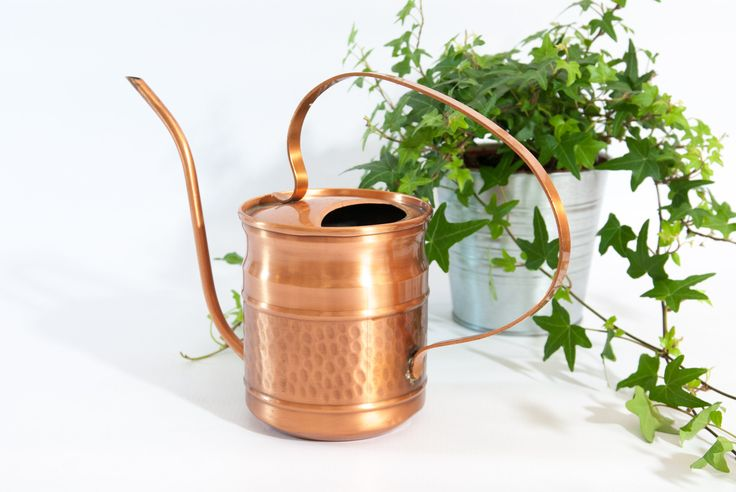 COPPER WATERING CAN, rustic watering can, modern watering can, watering can copper, gold watering can, gardening accessory, solid copper can by VintageEuropeDesign on Etsy