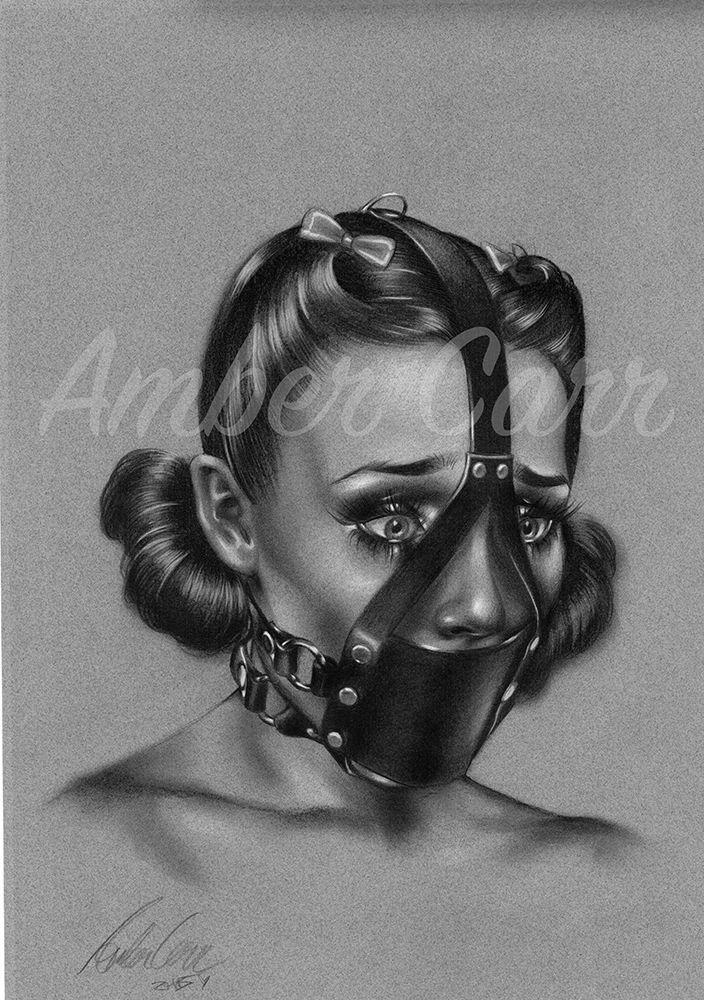pin up art original drawing Amber Carr face fetish ...