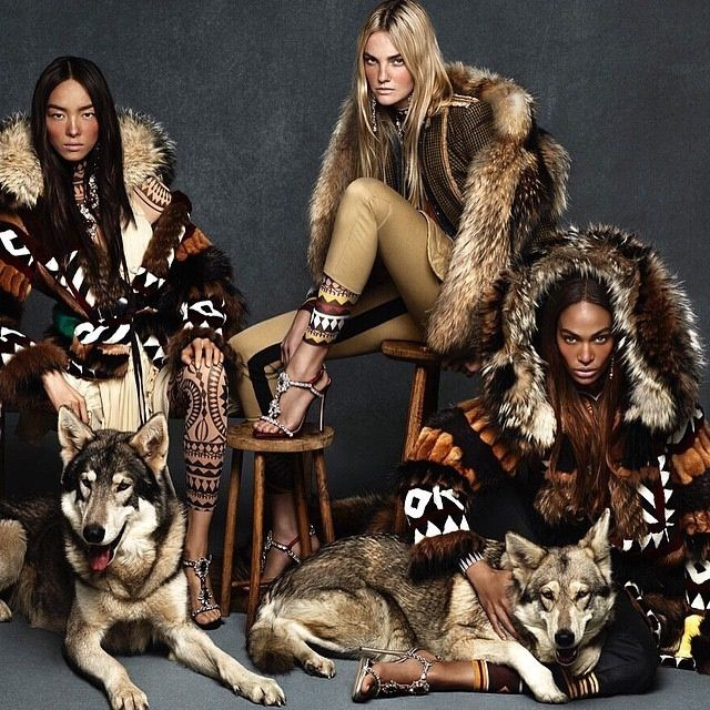 Fei Fei Sun, Caroline Trentini and Joan Smalls made their own wolf pack for DSquared2's fall-winter 2015 advertisement.