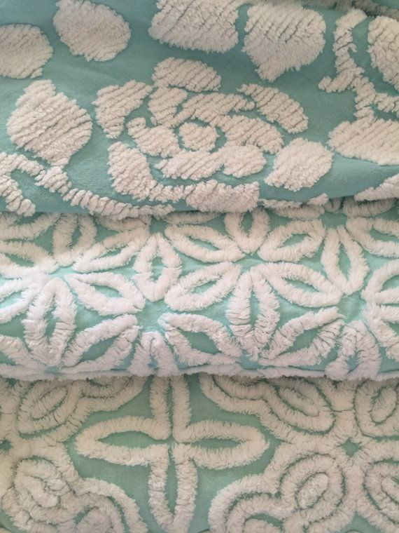 Vintage Chenille Bedspread Fabric ~ AQUA Collection