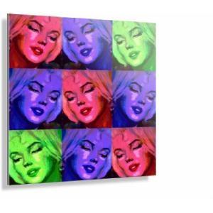 Tableau Marilyn Pop Art, Support écarté du mur par 1 profilé aluminium et 2 petites cales blanches sur www.shopwiki.fr !  #tableau #peinture #marilyn_monroe #cadre #maison
