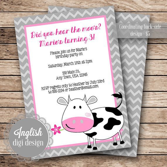 Inglish Digi Design  |  Printable Birthday Party Invitation  |  Cow Themed, Chevron