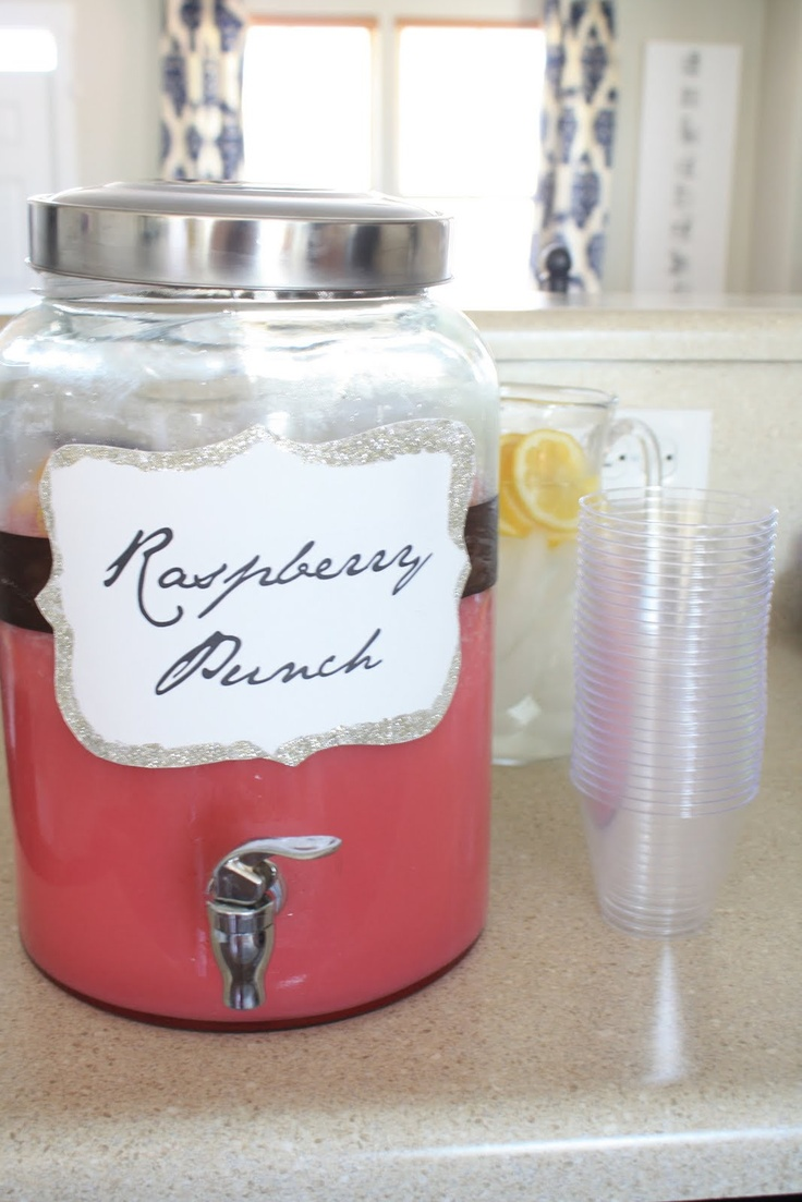 Raspberry Punch...2 L of Sprite, 2 tubs of raspberry sherbet. I'd add vodka...