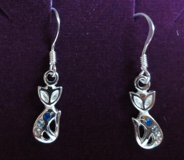 Silver Contempary Cat Earrings With Crystals £12.99