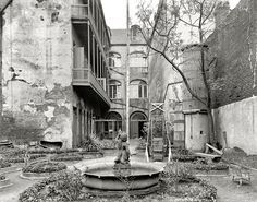 """New Orleans circa 1903. """"Old French courtyard."""" Shabby chic alfresco. Shorpy Historical Photo Archive :: The Quarter: 1903"""